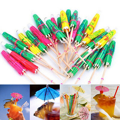 50X Colorful Mixed Paper Cocktail Drink Umbrellas Parasols Picks Party Drinks RR