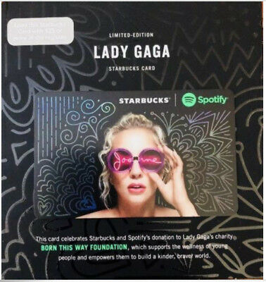 Starbucks Coffee Gift Card Lady Gaga Limited Edition Spotify Collaboration Rare