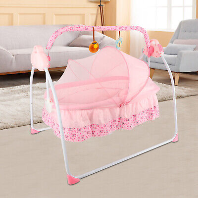 Baby Cradle to Sleep Musical Rocking Chair Electric Swing Bouncer Crib + Mat 3489c2ce9