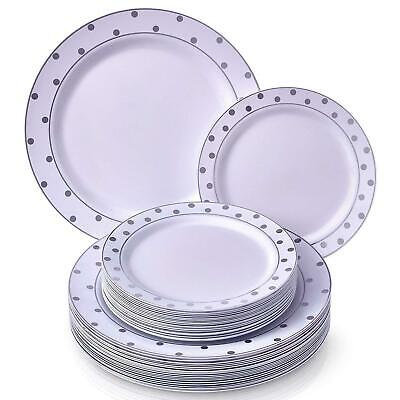 PARTY DISPOSABLE 40 PC DINNERWARE SET Elegant Fine China Look Dots- White/Silver