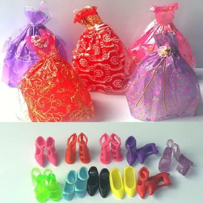Toy Dress lot Gifts 5 Pcs Fashion Handmade Dresses & Clothes 10 Shoes For Doll