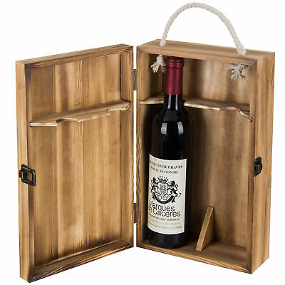 Dark Torched Wood Double Bottle Wine Case, Top Handle Hinged Lid Carrier, Brown