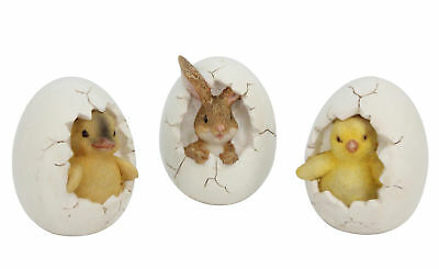 3 x Gisela Graham Easter Decorations Cracked Eggs with Bunny Chick Duckling