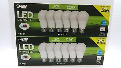 Lot of 2 FEIT-ELECTRIC-6-Pack 9.5W= 60W Dimmable Soft White LED Bulbs 800 Lumens