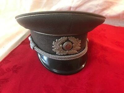 Original Vintage East German Officers Military Cap Hat Good Condition 1960's