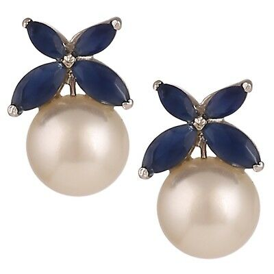 Swasti Jewels Flower Shaped Rhodium Plated Zircon and Pearls Statement Earrin...