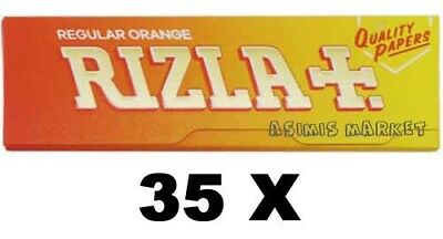 Rizla Oragne 35 Booklets Regular Size 2100 Smoking Rolling White Papers Original