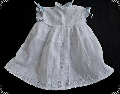 Antique Embroidered Victorian Baby Dress Ayrshire Whitework Lace Vintage  Doll