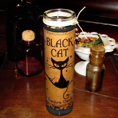 Black Cat Conjure Candle Hand Poured Luck Prosperity Unhexing Uncrossing