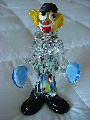 8  In. Tall- Vintage Murano Glass  Clown With Cymbals