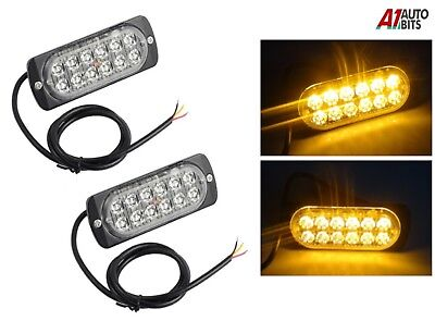2x 12 Led Strobe Light Bar Amber Truck Hazard Beacon Flash Warn Emergency Lamp