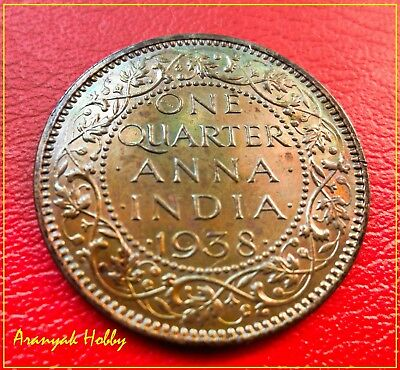 British India One Quarter Anna 1938 rare unc coin