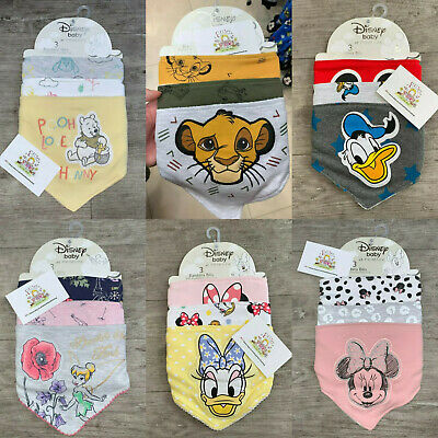 Baby 3X PACK Bandana Bibs Character Primark Gift Boys Girls Feeding Disney Cute