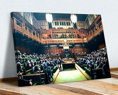 Banksy Monkey Government Parliment Canvas Wall Art  Artwork 30Mm Parliament