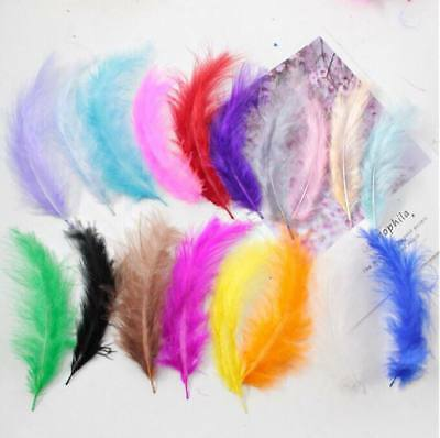 "8g 1//4Oz+ 50-70 counts Ivory 1~3/"" Turkey Marabou Feathers for crafting"