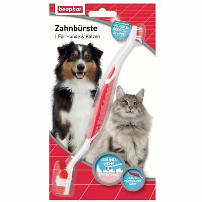 Beaphar Double Ended Toothbrush Reaches For Small And Large Size Pets Dog Cat