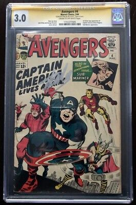 Avengers #4 CGC 3.0 Signed Stan Lee (C-OW) 1st Silver Age Captain America