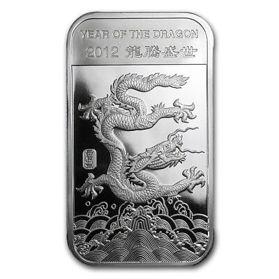 "1 oz .999 Pure Silver Art-Bar/Coin: ""2012 Year of the Dragon, Chinese Zodiac"""