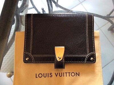 LOUIS VUITTON Suhali Agenda Case Day Planner Cover Black w white trim Dustbag