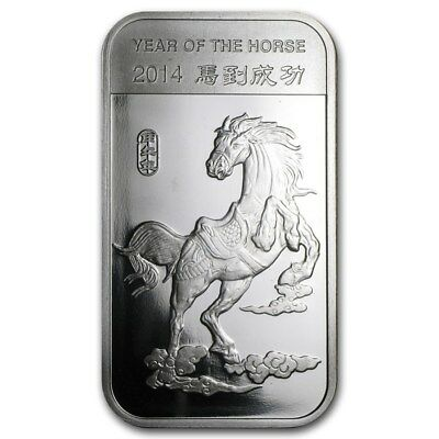 """1 oz .999 Pure Silver Art-Bar/Coin: """"2014 Year of the Horse Chinese Zodiac"""""""