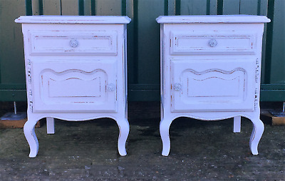 Shabby Chic French Vintage Painted and Distressed pair of bedside cabinets