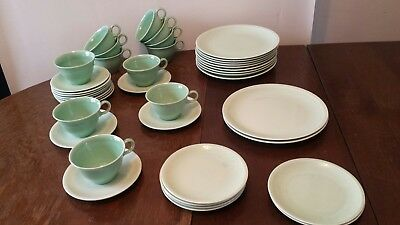 Paden City Pottery USA Shenandoah Pastel Green Plate Cup Saucer 39 Pieces 1940s