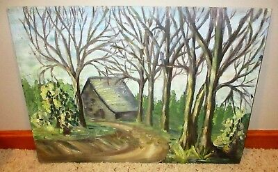 Vintage WPA Regionalism Landscape Oil Painting Cottage in the Woods Forest Cabin