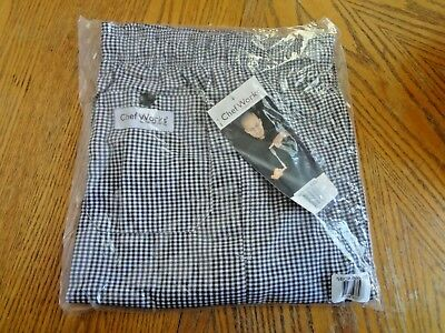 LOT OF 2 NEW SIZE XXS Chef Works black & white checkered pants