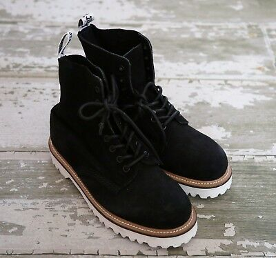838b8db3244d0f NWOB DR MARTENS Black PASCAL Suede Leather 8 Hole Boots White EUR 38 UK 5 US