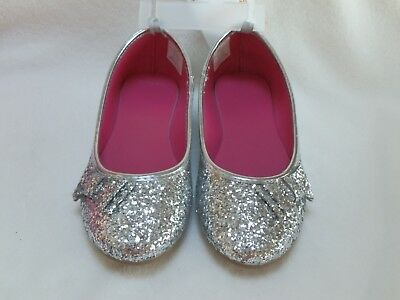 7e1a46f221b2 NEW Gymboree Girls Metallic Silver Glitter Bow Ballet Flats Dress Shoes sz 2