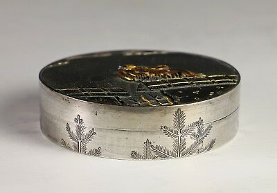 Antique Japanese Silver and Mixed Metal Covered Box