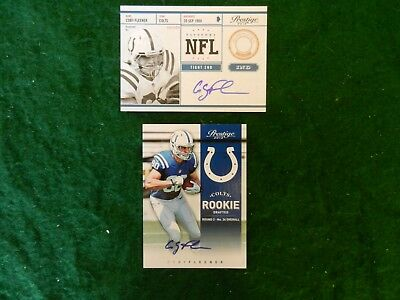 Lot Of Two (2) Different *coby Fleener <Rookie> Autograph* Nfl Cards