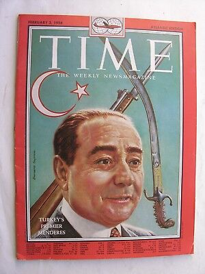 TIME MAGAZINE Feb 3 1958 Adnan Menderes Turkey Venezuela Jiménez Louise Nevelson