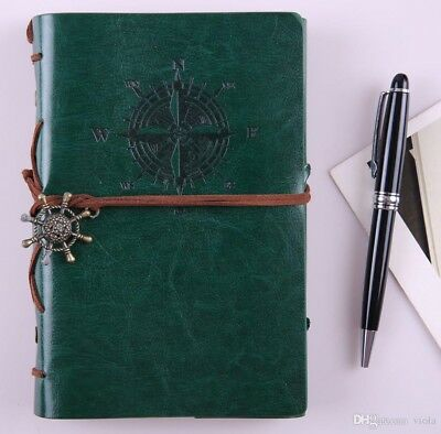 Vintage Classic PU Leather Notebook for Diary, Travel Journal and Note, Green