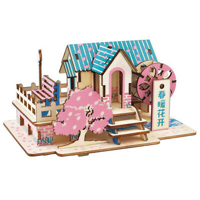 Assembly DIY Education Toy 3D Wooden Model Puzzles Cherry Blossom Cabin House