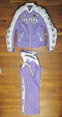 Icon Moto Kitty EMBROIDERED Leather Jacket & Chaps with Tassels Size XS Purple