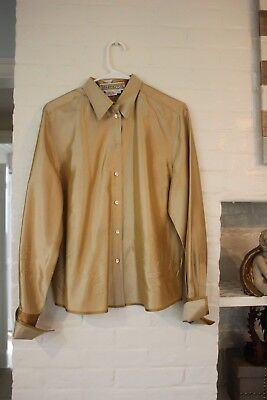 1a41c21926a1b Vintage Starington for SAKS FIFTH AVENUE GOLD RAW SILK BLOUSE FRENCH CUFF  Sz 10