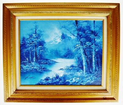 Vintage Framed G. Whitman Monochromatic Oil on Board Landscape Painting - Signed
