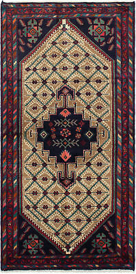 """Hand-knotted Persian Carpet 3'2"""" x 6'6"""" Koliai Traditional Wool Rug"""