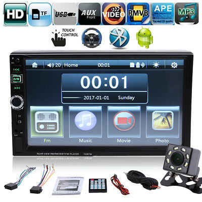 "7"" 2-DIN BT Car Stereo Radio MP5 Player FM USB TF Android Mirror Link w/ Camera"