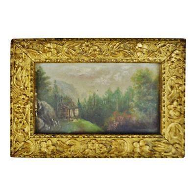 Antique Gilt Gesso Framed Cabin in the Woods Oil on Panel Painting