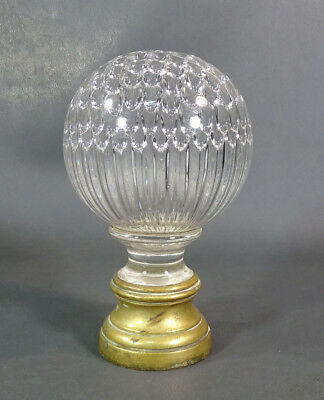 Victorian French Baccarat Crystal Glass Staircase Stairs Ball Honeycomb Pattern