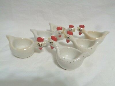 Vintage 1970'S Six Ceramic Chicken Soft Or Hard Boiled Egg Holders Cups