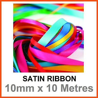 12x SATIN RIBBON ROLLS 10mm x 10M Gift Scrapbook Craft Tie Hair Bow Double Sided