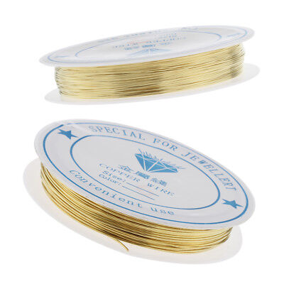 2 Rolls Gold Plated Copper Wire Findings Beading Wire for DIY Jewelry Making