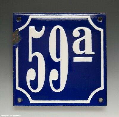 ALTE EMAIL EMAILLE HAUSNUMMER 59a in BLAU/WEISS um 1935...12 x 12 cm