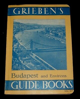 1938 Grieben's Budapest Hungary Tourist Guide Book W/- Fold Out Map