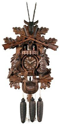 River City Clocks Eight Day Musical Hunter's Cuckoo Clock with Dancers Hand Carv