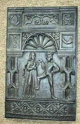 16th C carved old antique oak wood courting couple Percy panel, replica, each