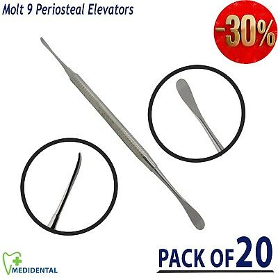 Pack Of 20 Periosteal Elevator Molt 9 Dental Surgical Implant Gingival Tissue CE